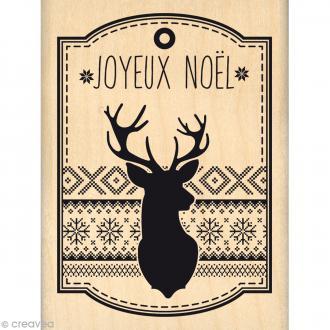 Tampon Noël - Fantaisies Nordiques - Etiquette Renne Joyeux Noël - 6 x 8 cm
