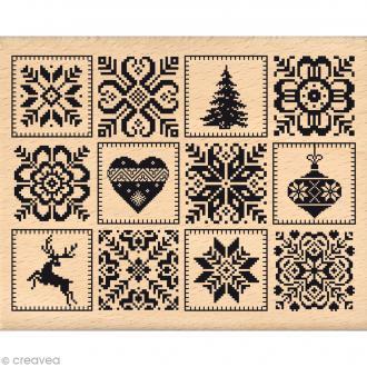 Tampon Noël - Fantaisies Nordiques - Carrés nordiques - 8 x 10 cm