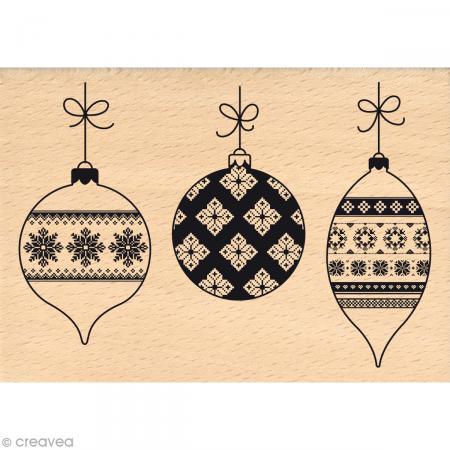 Tampon Noël - Fantaisies Nordiques - Boules de Noël - 7 x 10 cm - Photo n°1