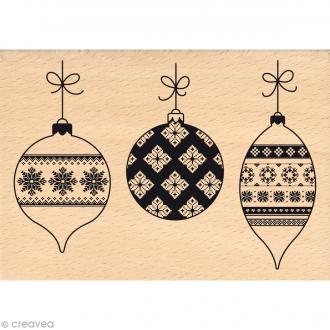 Tampon Noël - Fantaisies Nordiques - Boules de Noël - 7 x 10 cm