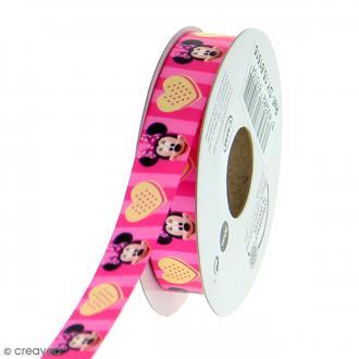 Ruban satin 15 mm Minnie vendu au mètre (sur mesure) - rose