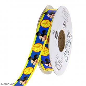 Ruban satin 15 mm Mickey vendu au mètre (sur mesure) - bleu et jaune