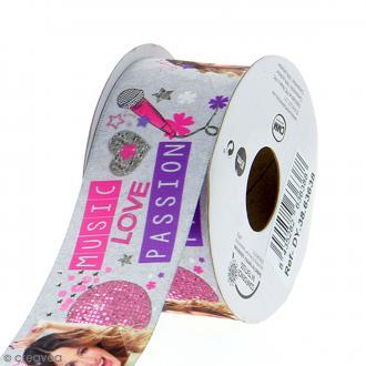 Ruban satin 38 mm Violetta Music Love Passion vendu au mètre (sur mesure) - gris et rose