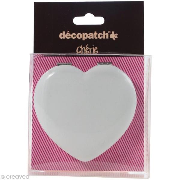 Miroir coeur à décorer Décopatch Chérie - 7 cm - Photo n°1