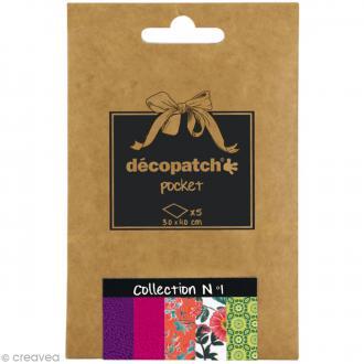 Papiers Décopatch Pocket - Collection n°1 - 30 x 40 cm - 5 pcs