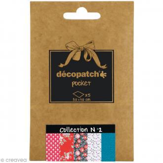 Papiers Décopatch Pocket - Collection n°2 - 30 x 40 cm - 5 pcs