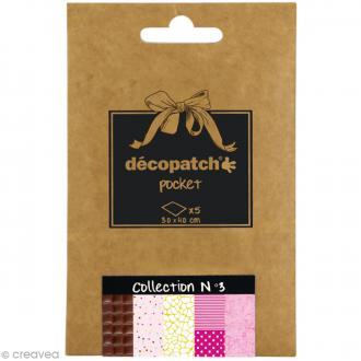 Papiers Décopatch Pocket - Collection n°3 - 30 x 40 cm - 5 pcs