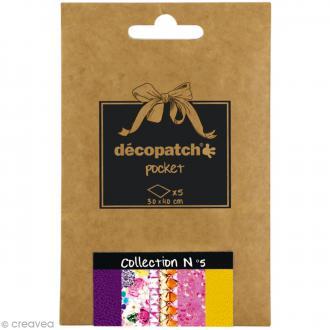 Papiers Décopatch Pocket - Collection n°5 - 30 x 40 cm - 5 pcs