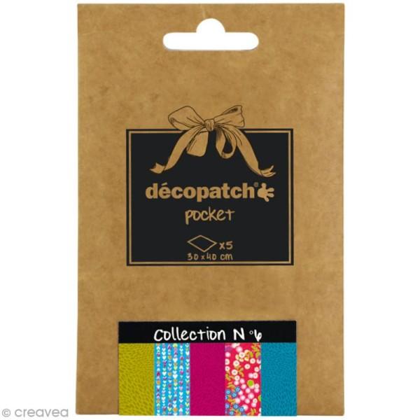 Papiers Décopatch Pocket - Collection n°6 - 30 x 40 cm - 5 pcs - Photo n°1