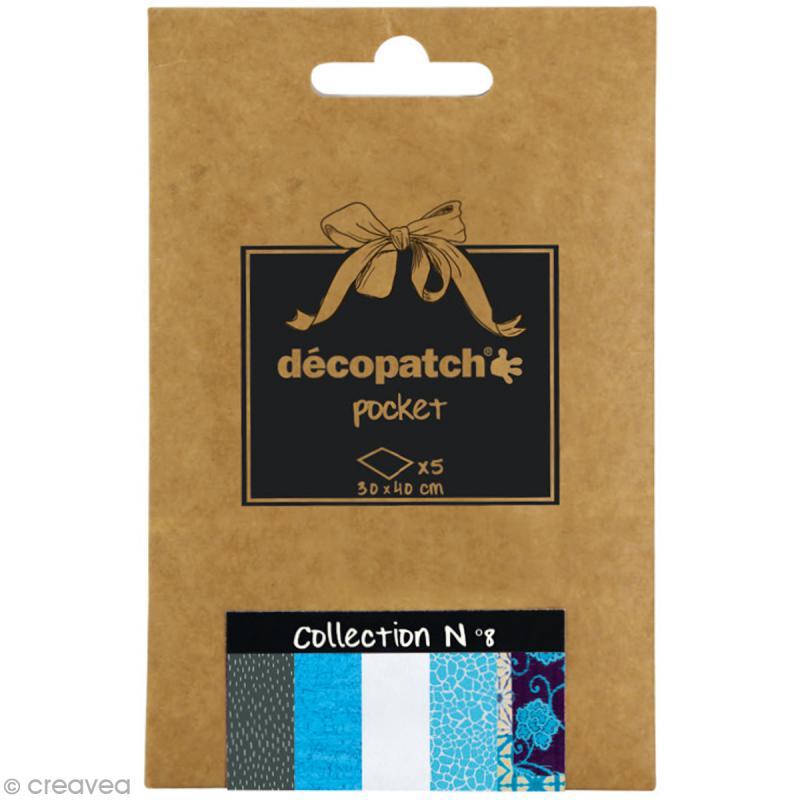 Papiers Décopatch Pocket - Collection n°8 - 30 x 40 cm - 5 pcs - Photo n°1