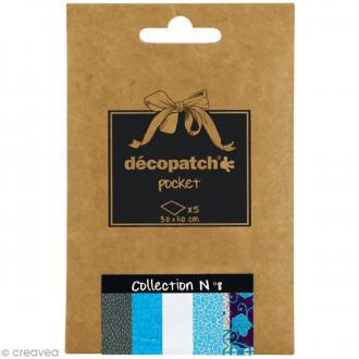 Papiers Décopatch Pocket - Collection n°8 - 30 x 40 cm - 5 pcs