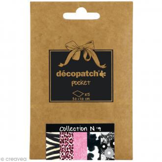 Papiers Décopatch Pocket - Collection n°9 - 30 x 40 cm - 5 pcs