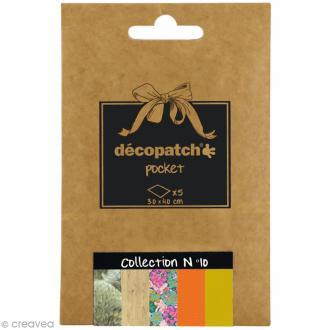 Papiers Décopatch Pocket - Collection n°10 - 30 x 40 cm - 5 pcs