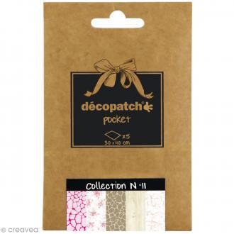 Papiers Décopatch Pocket - Collection n°11 - 30 x 40 cm - 5 pcs