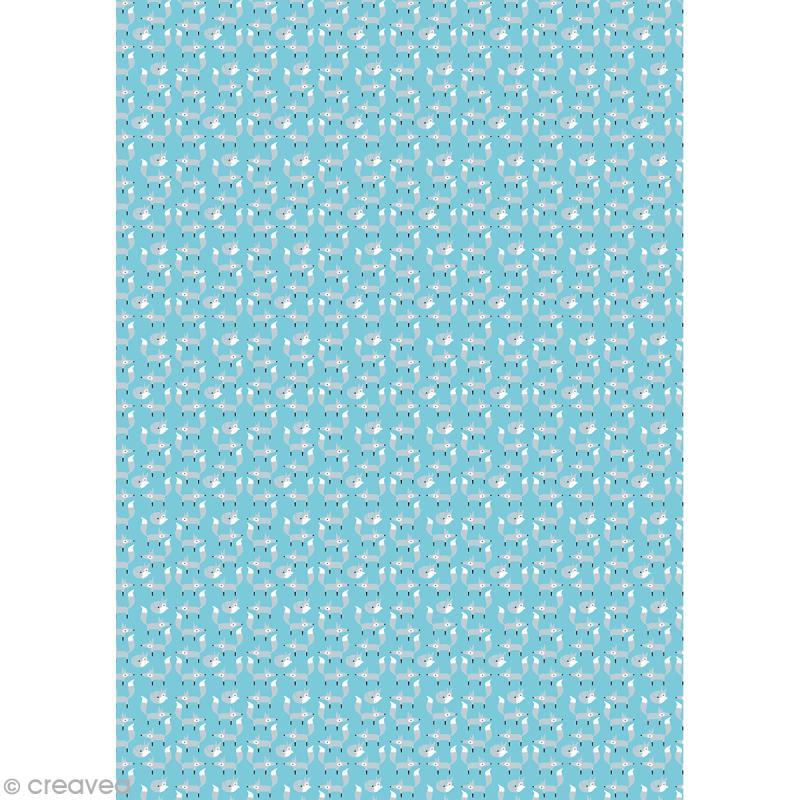 Décopatch Bleu motifs renards 702 - 1 feuille - Photo n°1