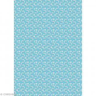 Décopatch Bleu motifs renards 702 - 1 feuille