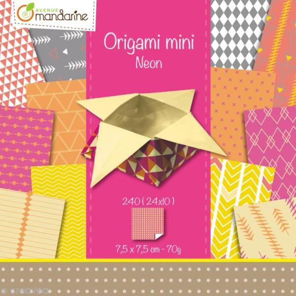 Origami mini - Néon - 240 feuilles de 7,5 x 7,5 cm - Photo n°1