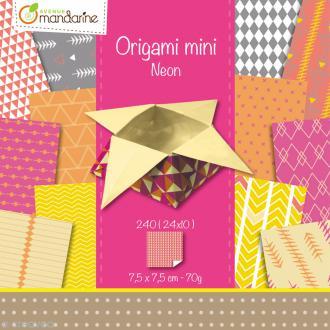 Origami mini - Néon - 240 feuilles de 7,5 x 7,5 cm