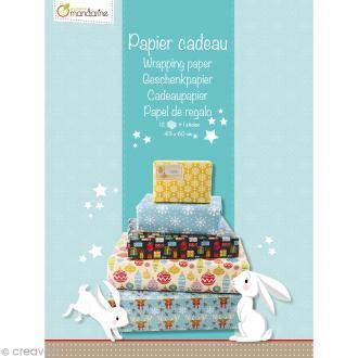 Papier cadeau Noël - 43 x 60 cm - 12 pcs