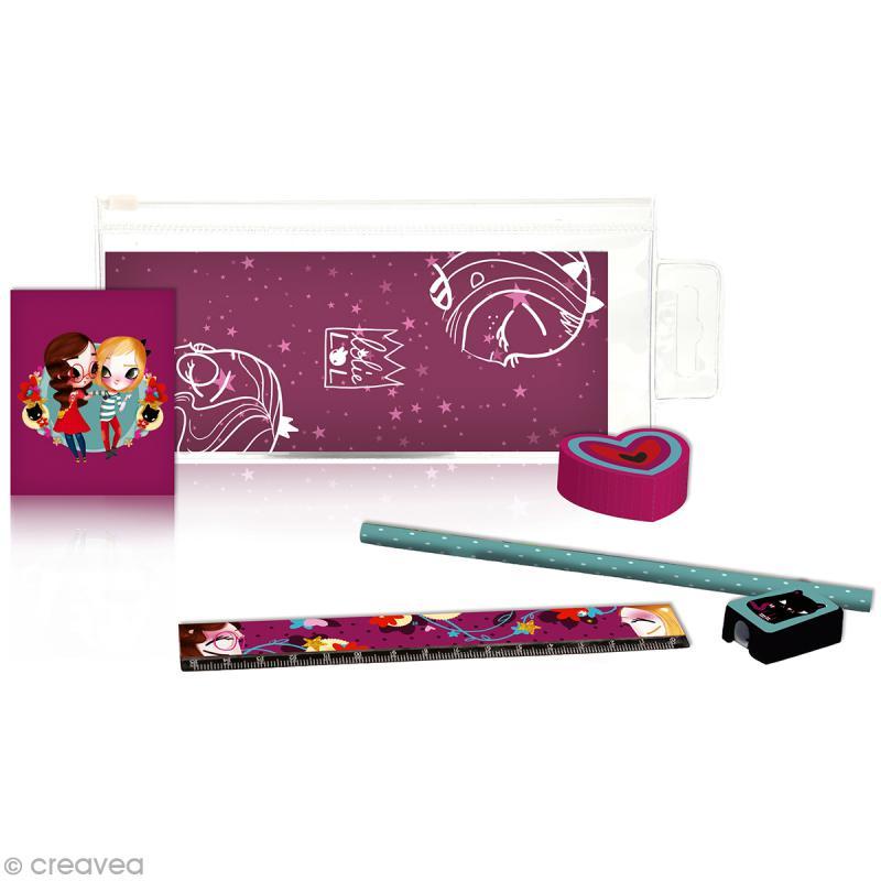 Trousse avec accessoires pour écolier Lolielol - 19 x 7 cm - Photo n°1
