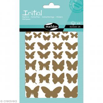 Autocollants Initial Or et Argent - Papillons - 160 pcs