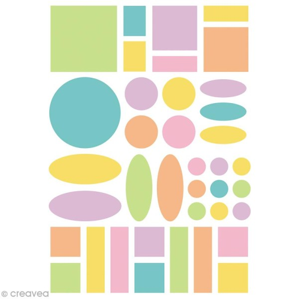 Autocollants Baby Géométriques 2 - couleurs pastels - 280 pcs - Photo n°2