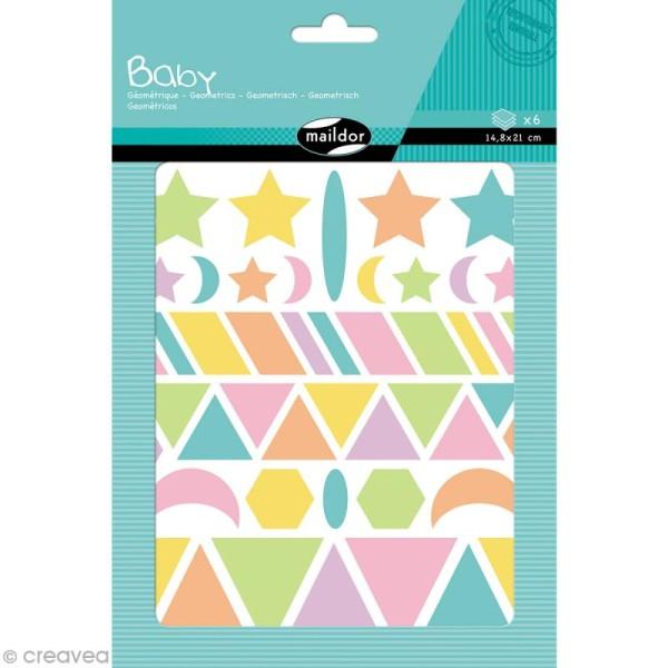 Autocollants Baby Géométriques 2 - couleurs pastels - 280 pcs - Photo n°1