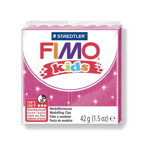 FIMO Kids 42g - Bébé en pâte à modeler Rose Avec des Paillettes, de l'Argile Polymère, Argile de l'A - Photo n°1