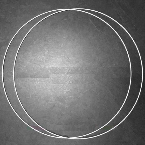 Lot de 2 Grands Cercles métalliques blanc diam. 65 cm pour abat-jour, Anneaux epoxy Attrape rêves - Photo n°1