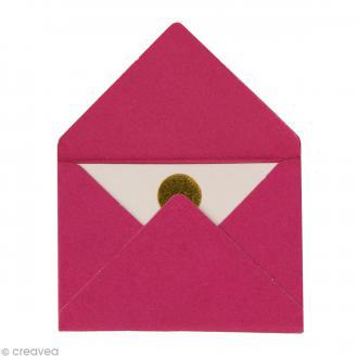 Mini enveloppes et cartes Hot Foil Rose fuchsia - 4,5 x 3 cm - 10 pcs
