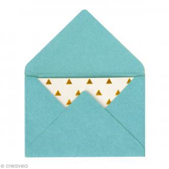 Mini enveloppes et cartes Hot Foil Bleu turquoise - 4,5 x 3 cm - 10 pcs