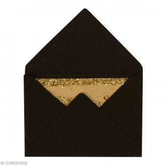Mini enveloppes et cartes Noir - 4,5 x 3 cm - 10 pcs
