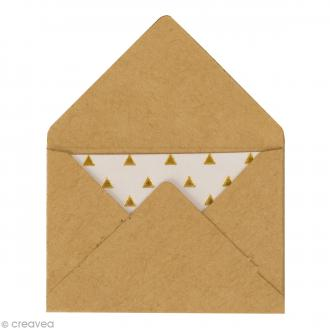 Mini enveloppes et cartes Hot Foil Marron kraft - 4,5 x 3 cm - 10 pcs