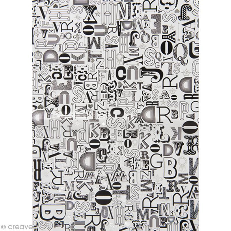 Papier Paper patch Hot Foil Lettre - Argenté - 30 x 40 cm - Photo n°1