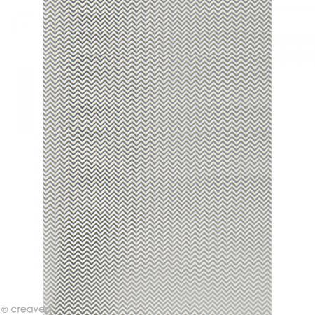 Papier Paper patch Hot Foil Zig Zag - Argenté - 30 x 40 cm - Photo n°1