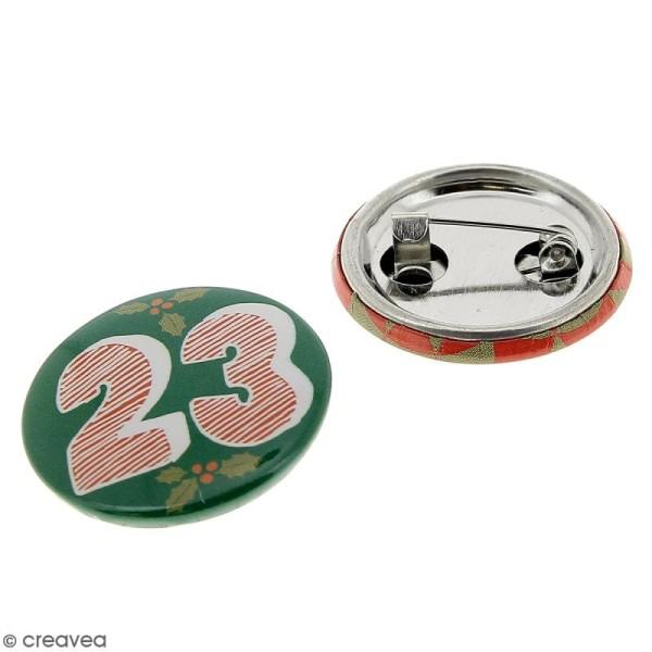 Pins badge Calendrier de l'Avent - 2,5 cm - 24 pcs - Photo n°2