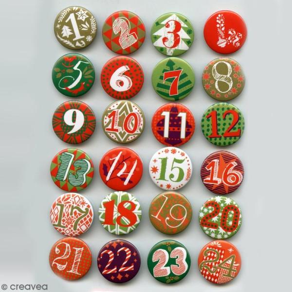 Pins badge Calendrier de l'Avent - 2,5 cm - 24 pcs - Photo n°3