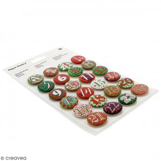 Pins badge Calendrier de l'Avent - 2,5 cm - 24 pcs
