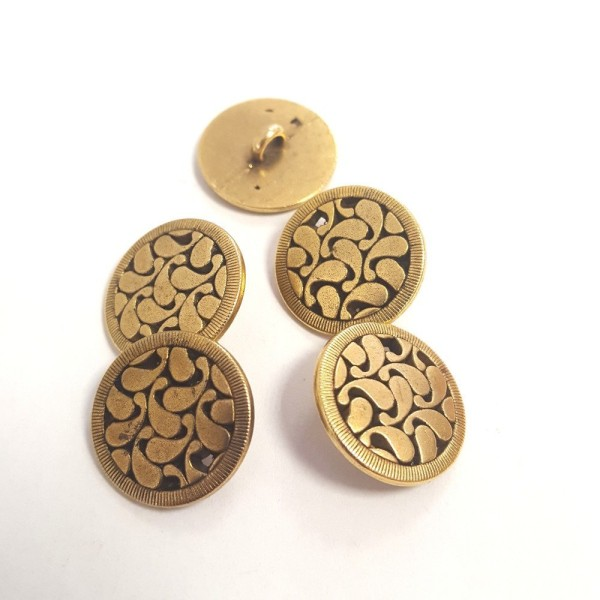 5 Boutons métal doré – 18mm –126T - Photo n°1