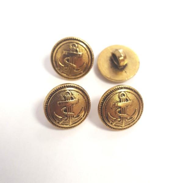 4 Boutons résine doré ancre marine – 15mm –129T - Photo n°1