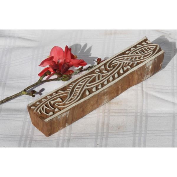 Tampon batik en bois, tampon encreur, pochoir. - Photo n°1