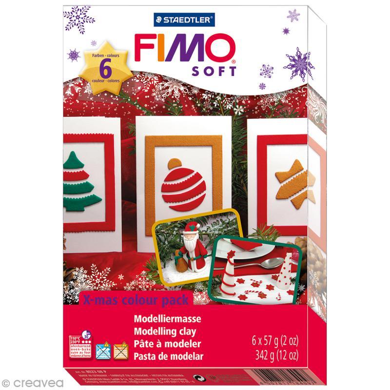 Coffret modelage - Fimo Soft - Couleurs de Noël - Photo n°1