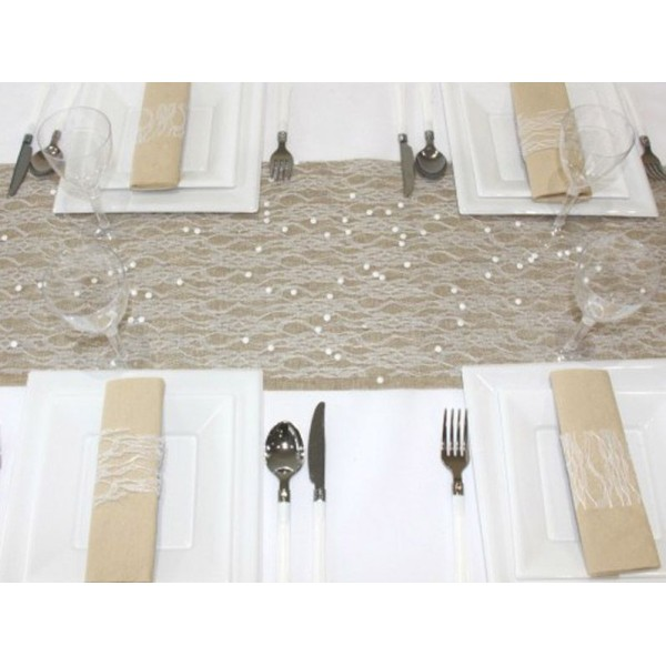 Chemin de table dentelle blanche : 5 mètres x 28 cm - Photo n°2
