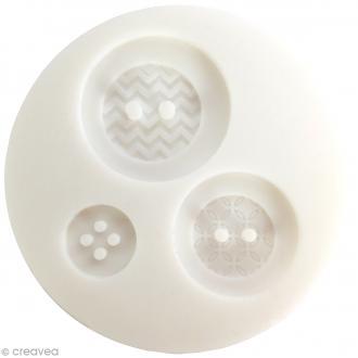 Mini moule silicone - Boutons géométriques - 1,4 - 2,5 et 3 cm - 3 formes