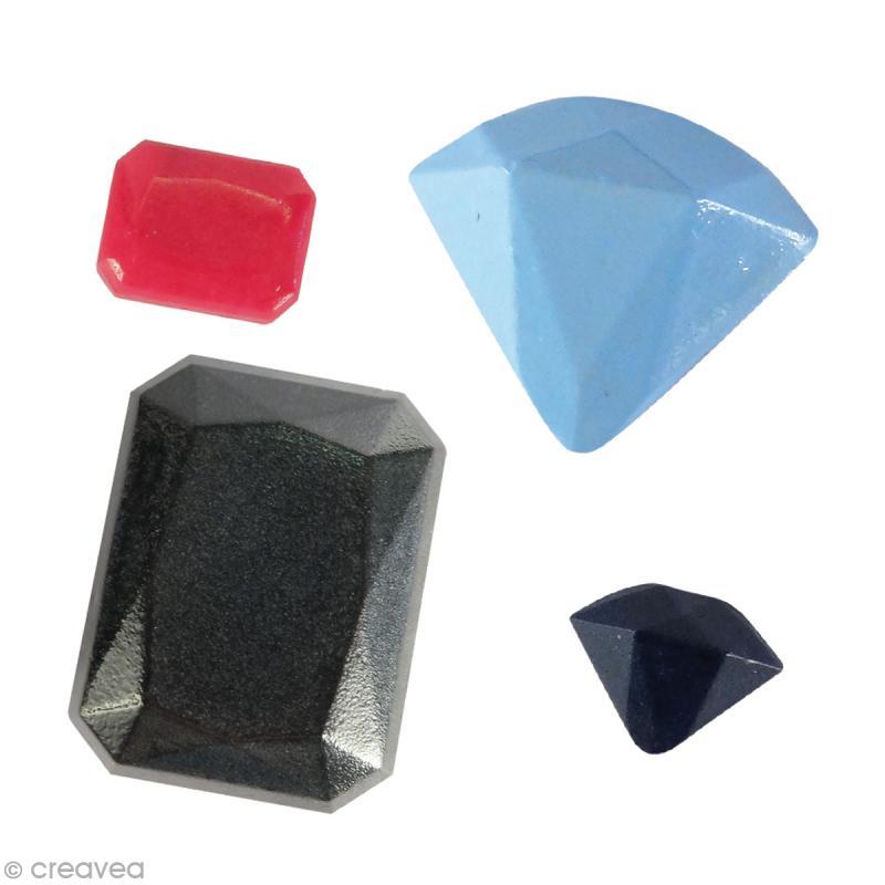 Mini moule silicone - Pierres précieuses - 1,4 à 2 cm - 4 formes - Photo n°2