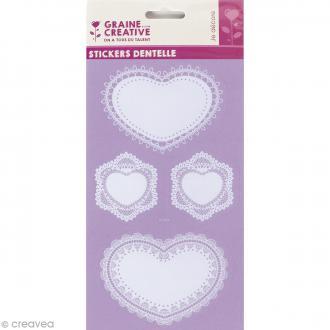 Stickers dentelle - Coeurs - 5,3 à 9,7 cm - 8 pcs