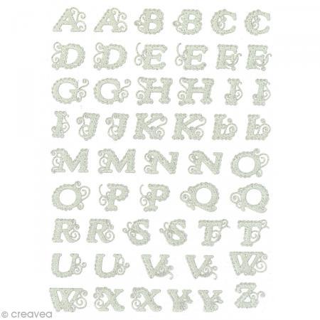 Stickers dentelle 3D - Alphabet majuscule - 1,2 à 1,7 cm - 52 pcs - Photo n°2