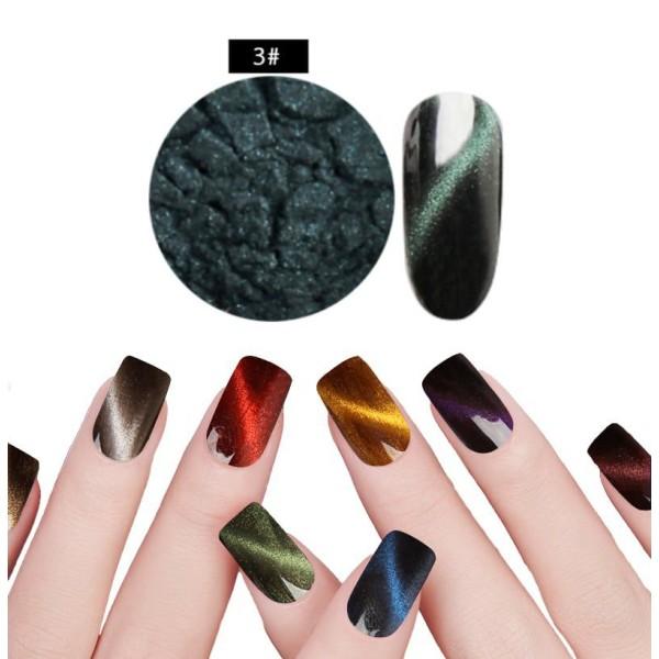 1 Set Vert Émeraude #3 de la Magie Magnétique, les Yeux de Chat de la Poudre de Poussière Pigment Ac - Photo n°1