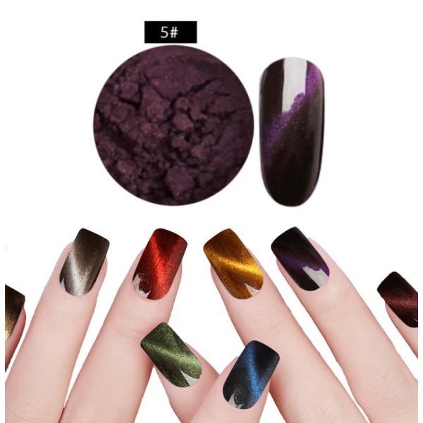 1 Set Pourpre Violet #5 de la Magie Magnétique, les Yeux de Chat de la Poudre de Poussière Pigment A - Photo n°1