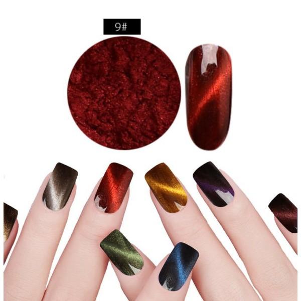 1 Jeu Rouge n ° 9 de la Magie Magnétique, les Yeux de Chat de la Poudre de Poussière Pigment Acryliq - Photo n°1